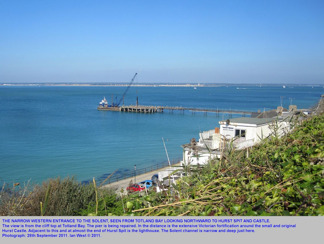 The view across the narrow entrance to the West Solent and to Hurst Castle and Hurst Spit, from Totland Bay, Isle of Wight, September 2011