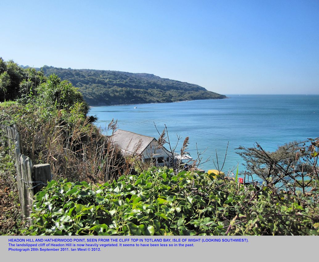Headon Hill and Hatherwood Point seen from Totland Bay, Isle of Wight, September 2011