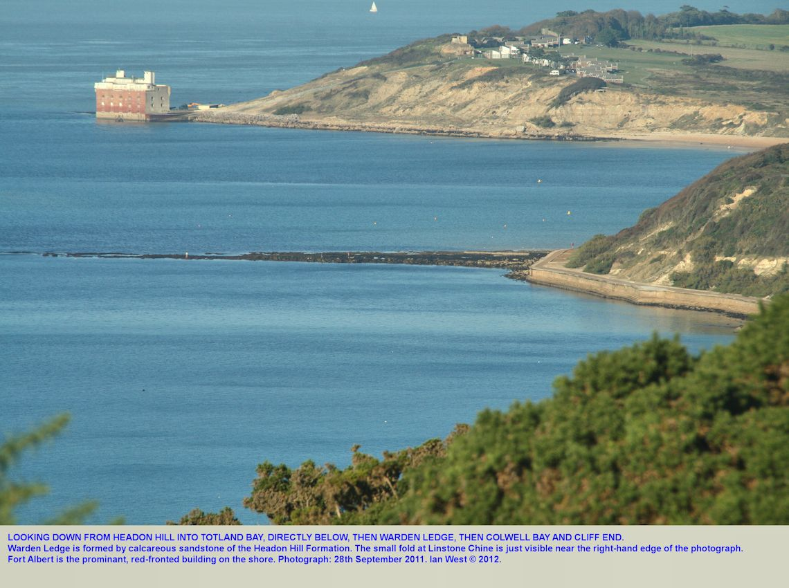 Totland Bay, Warden Ledge and Colwell Bay, as seen from Headon Hill, Isle of Wight, 28th September 2011