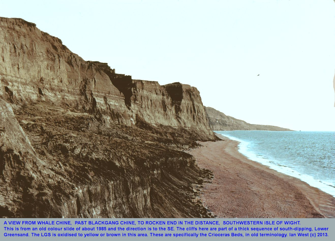 An old photograph from the foot of Whale Chine towards Rocken End, Southwestern Isle of Wight, with cliffs of the Crioceras Beds of the Lower Greensand