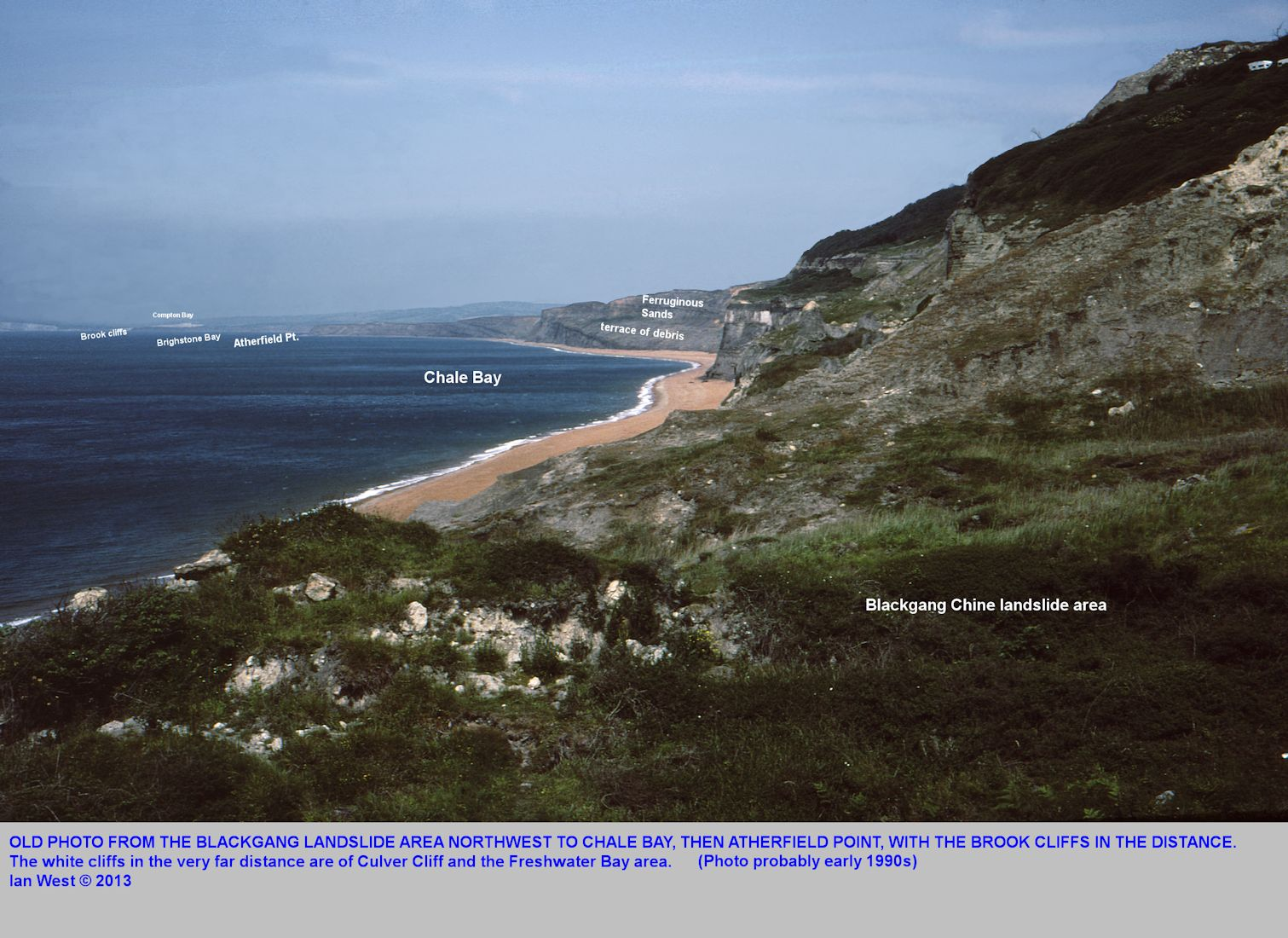 From Blackgang Chine landslide, a view of Chale Bay, Atherfield Point and the coast on to Brook, Isle of Wight