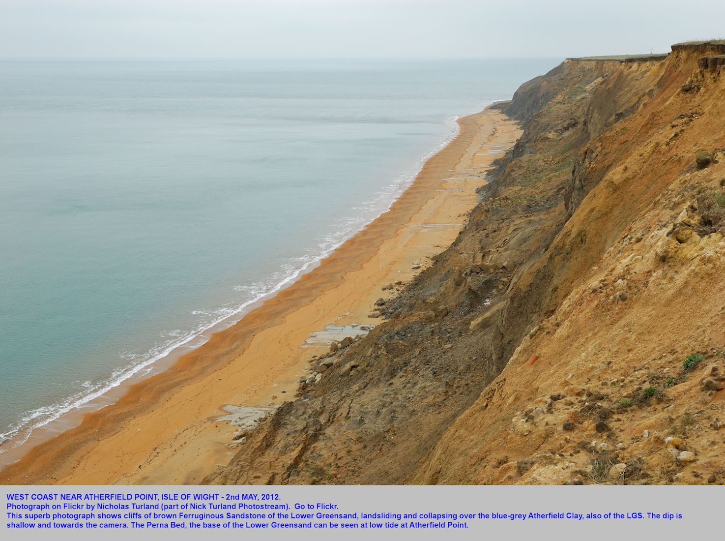 Chale Bay, Isle of Wight, looking northwest to Atherfield Point, with Ferruginous Sands of the Upper Greensand landslipping and falling over blue-grey Atherfield Clay, Nick Turland photograph, May, 2012