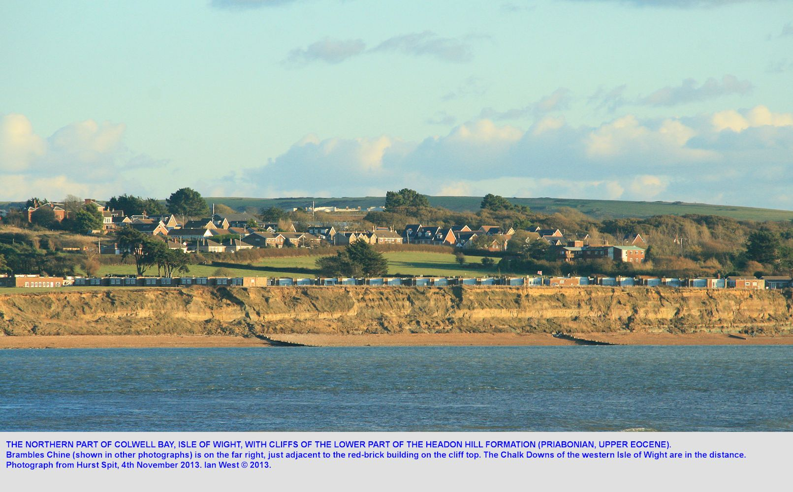 A northern part of Colwell Bay, north of Brambles Chine, Isle of Wight, as seen from Hurst Spit, 4th November 2013