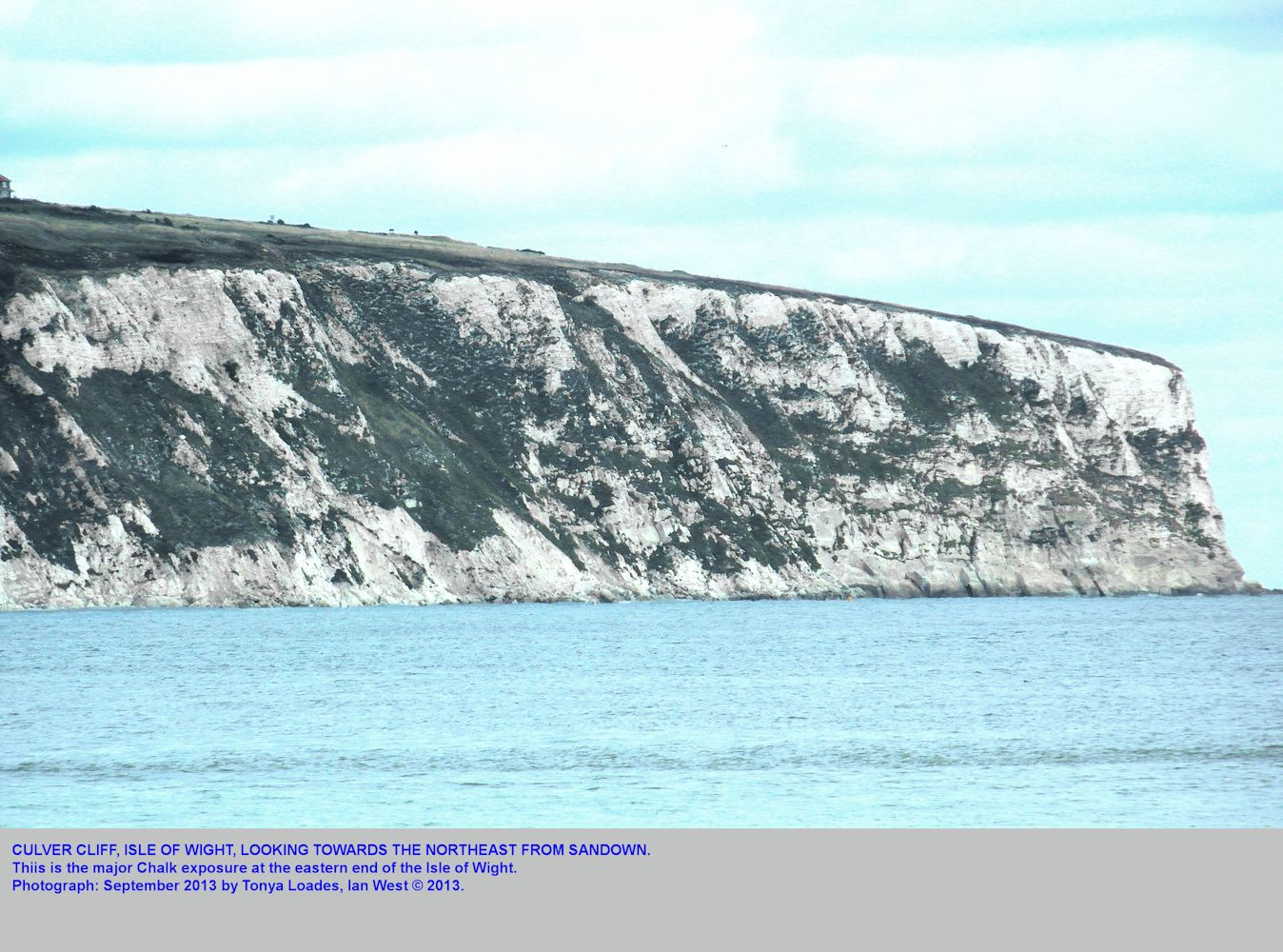 Culver Cliff of Chalk, as seen looking northeast from Sandown, Isle of Wight, September 2013