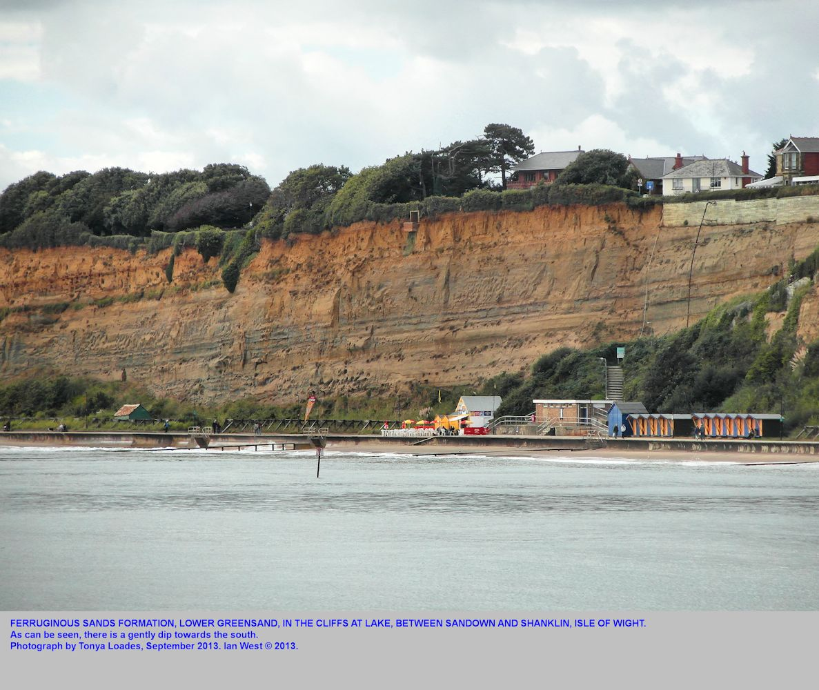 Ferruginous Sand Formation of the Lower Greensand at the steps at Lake, Isle of Wight, between Sandown and Shanklin, September 2013