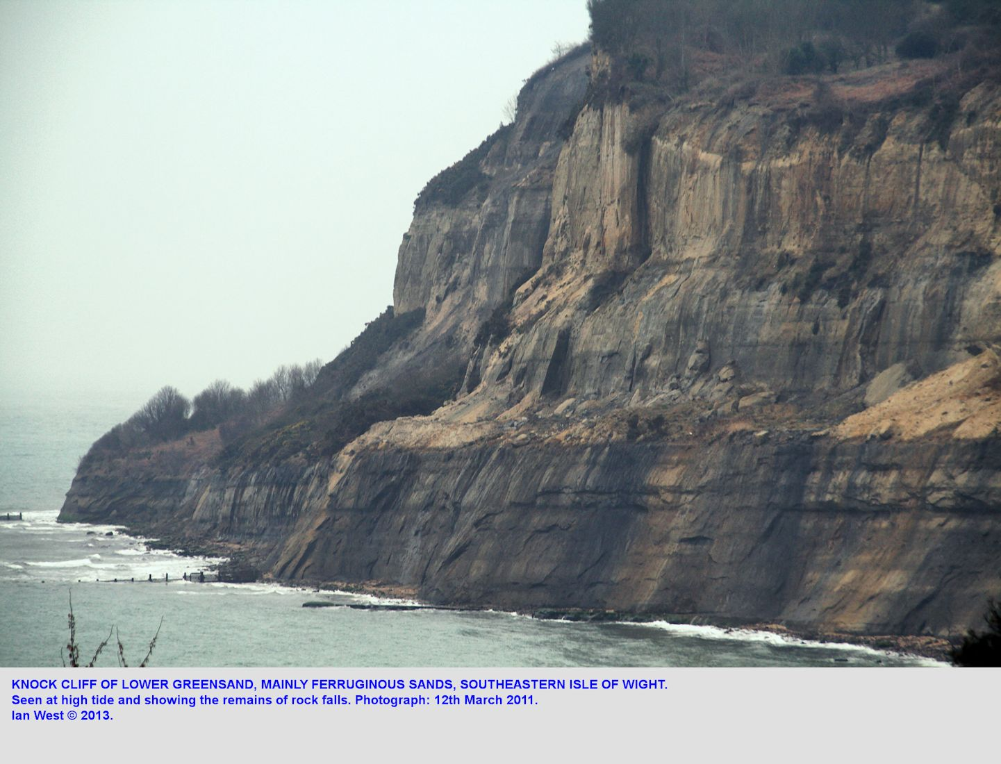 Knock Cliff of Lower Greensand, seen at high tide on the 12th March, 2011, southeastern Isle of Wight, imw photograph