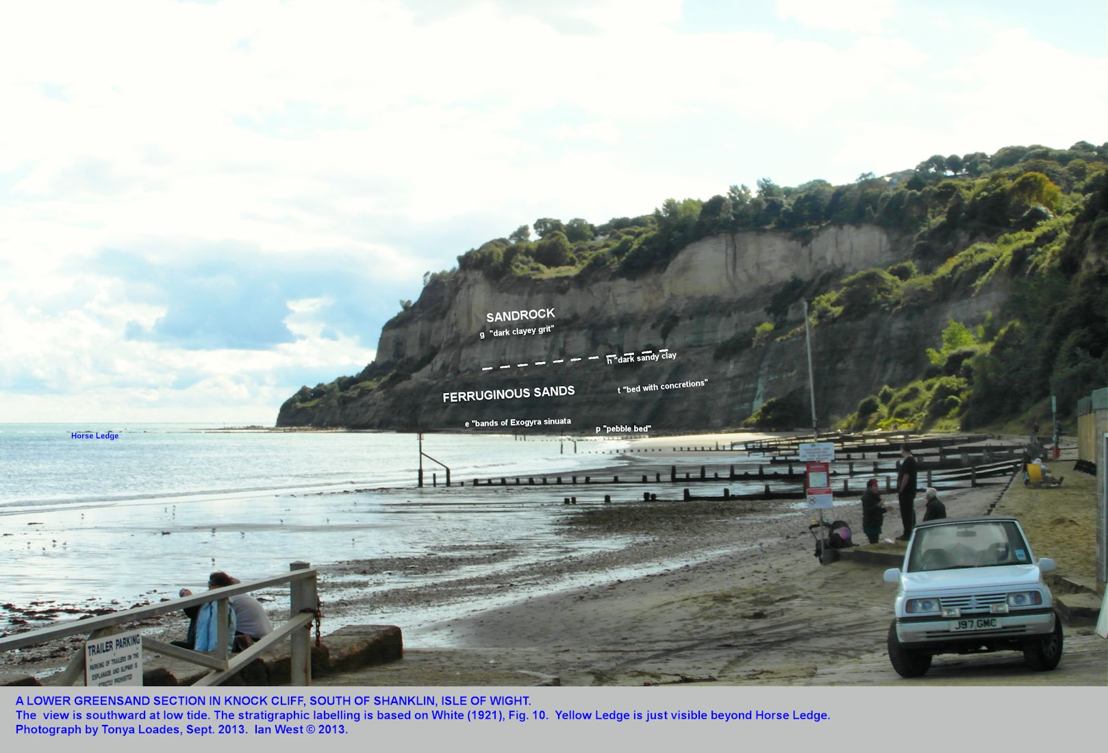 Knock Cliff, Shanklin, Isle of Wight, with Ferruginous Sands and Sand-rock of the Lower Greensand, September 2013