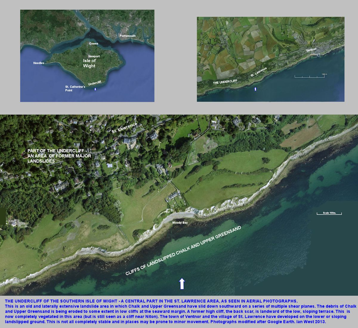 Arial photographs of the central part of the Undercliff, southern Isle of Wight, including the St. Lawrence area