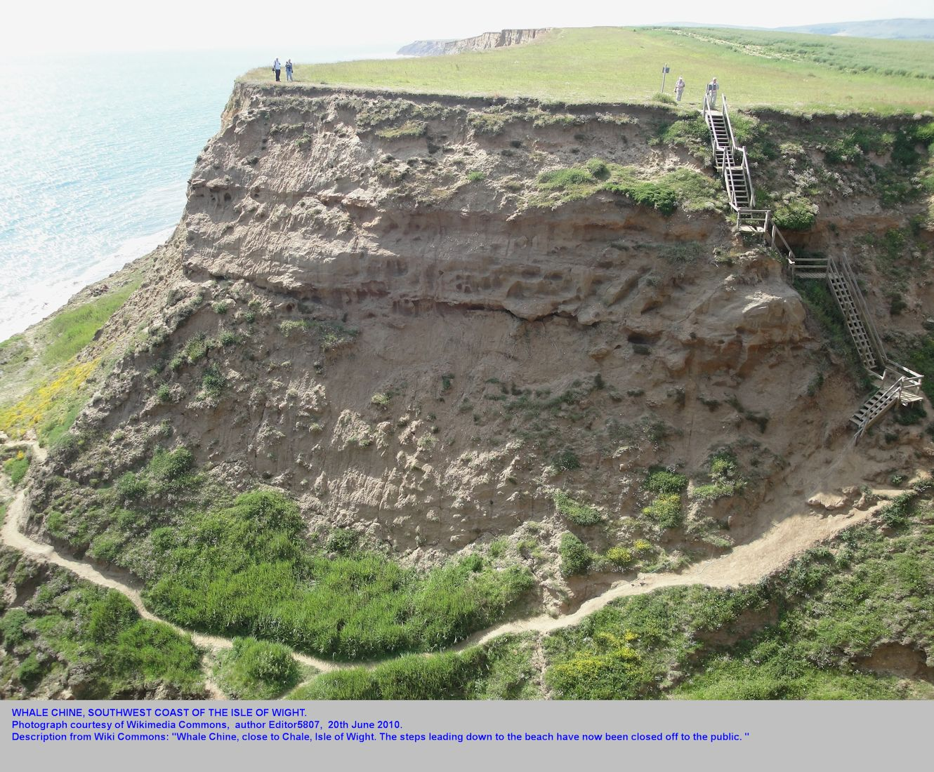 The steps down at Whale Chine, near Chale, Isle of Wight, in 2010, since closed to the public, image from Wikimedia Commons by Editor 5807