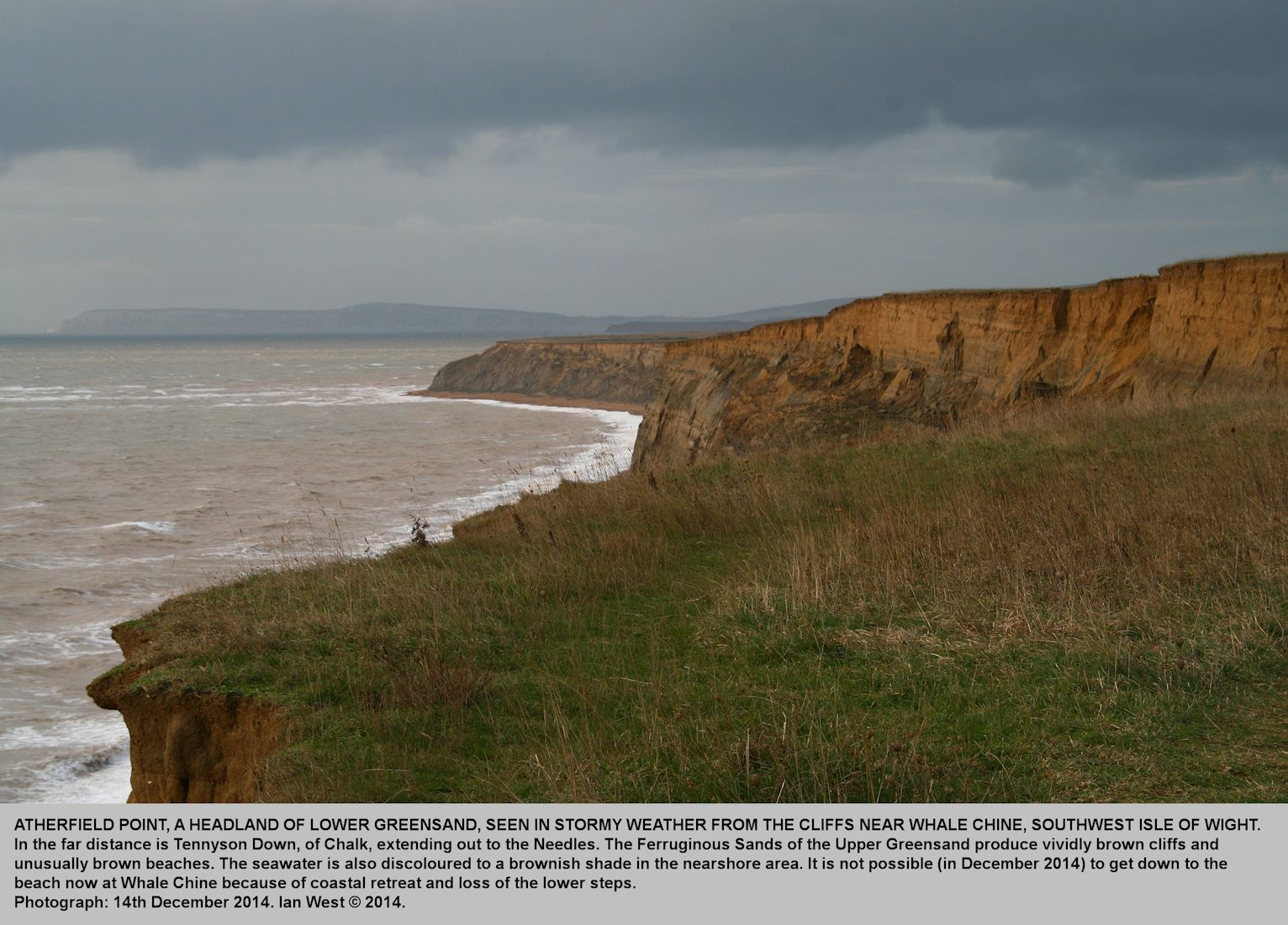 Stormy weather at Atherfield Point, as seen from above Whale Chine, southwest coast of the Isle of Wight, 14th December 2014