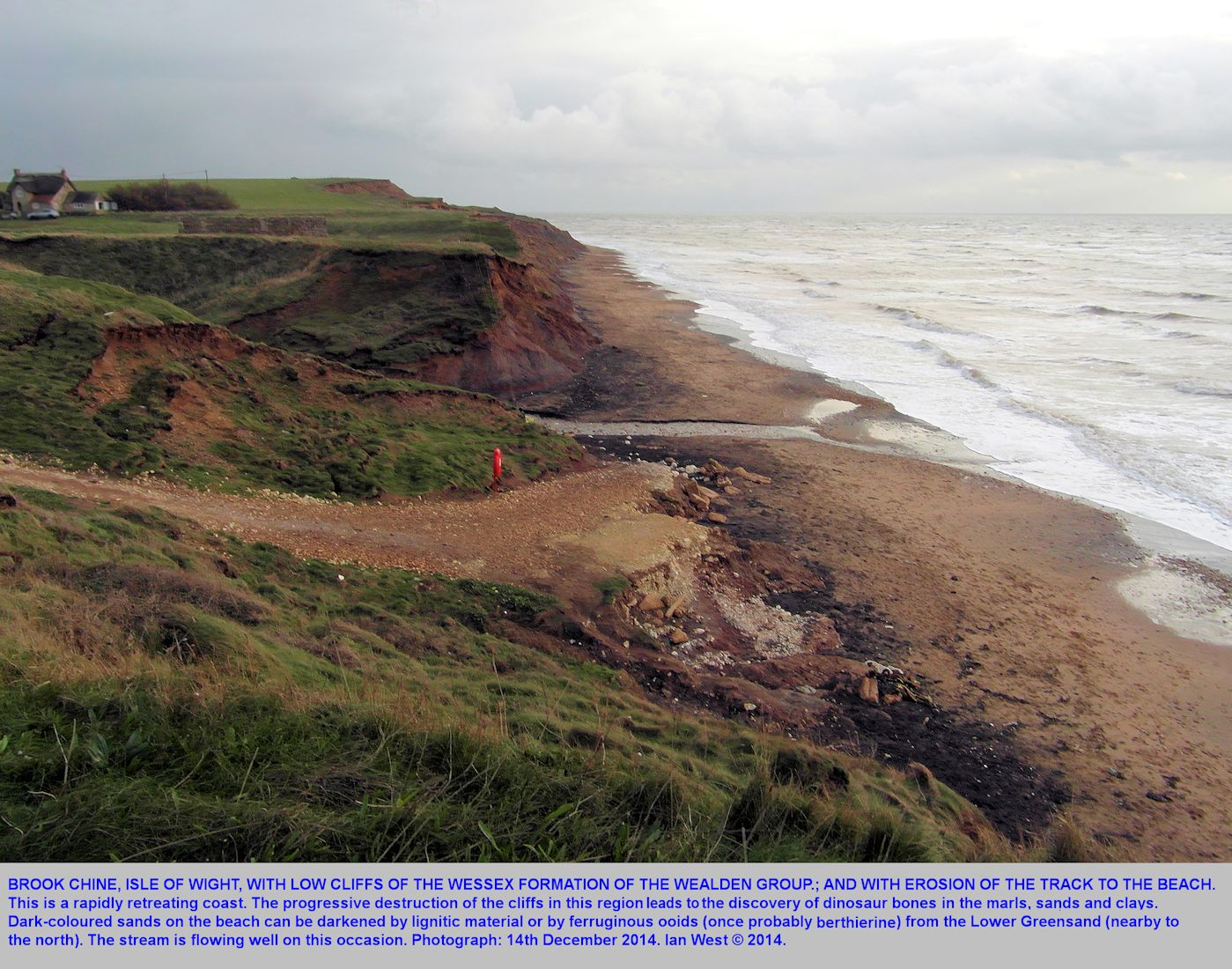Erosion taking place at Brook Chine, Isle of Wight, 14th December 2014
