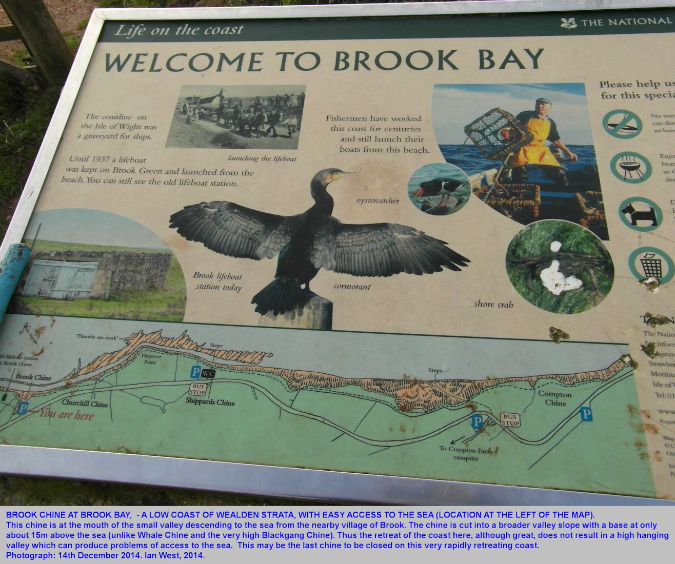 A location map on an information board at Brook Chine, Isle of Wight, 14th December 2014