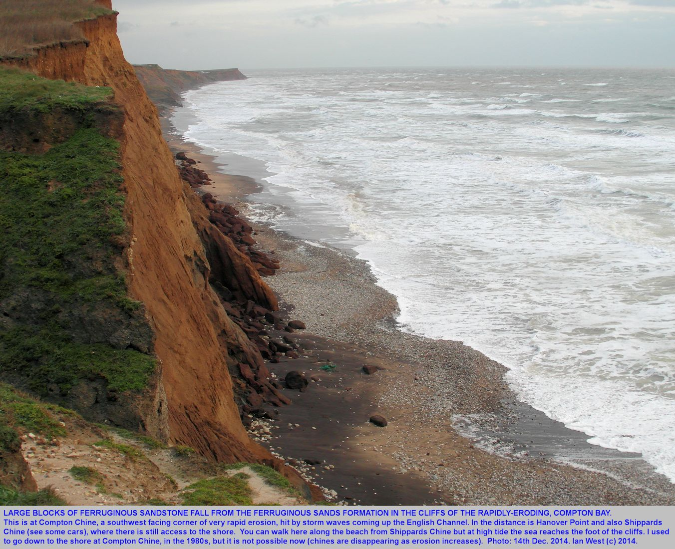 Brown blocks of ferruginous sandstone from the Ferruginous Sands Formation, Lower Greensand, fallen from the cliffs at Compton Chine, Isle of Wight, 14th December 2014