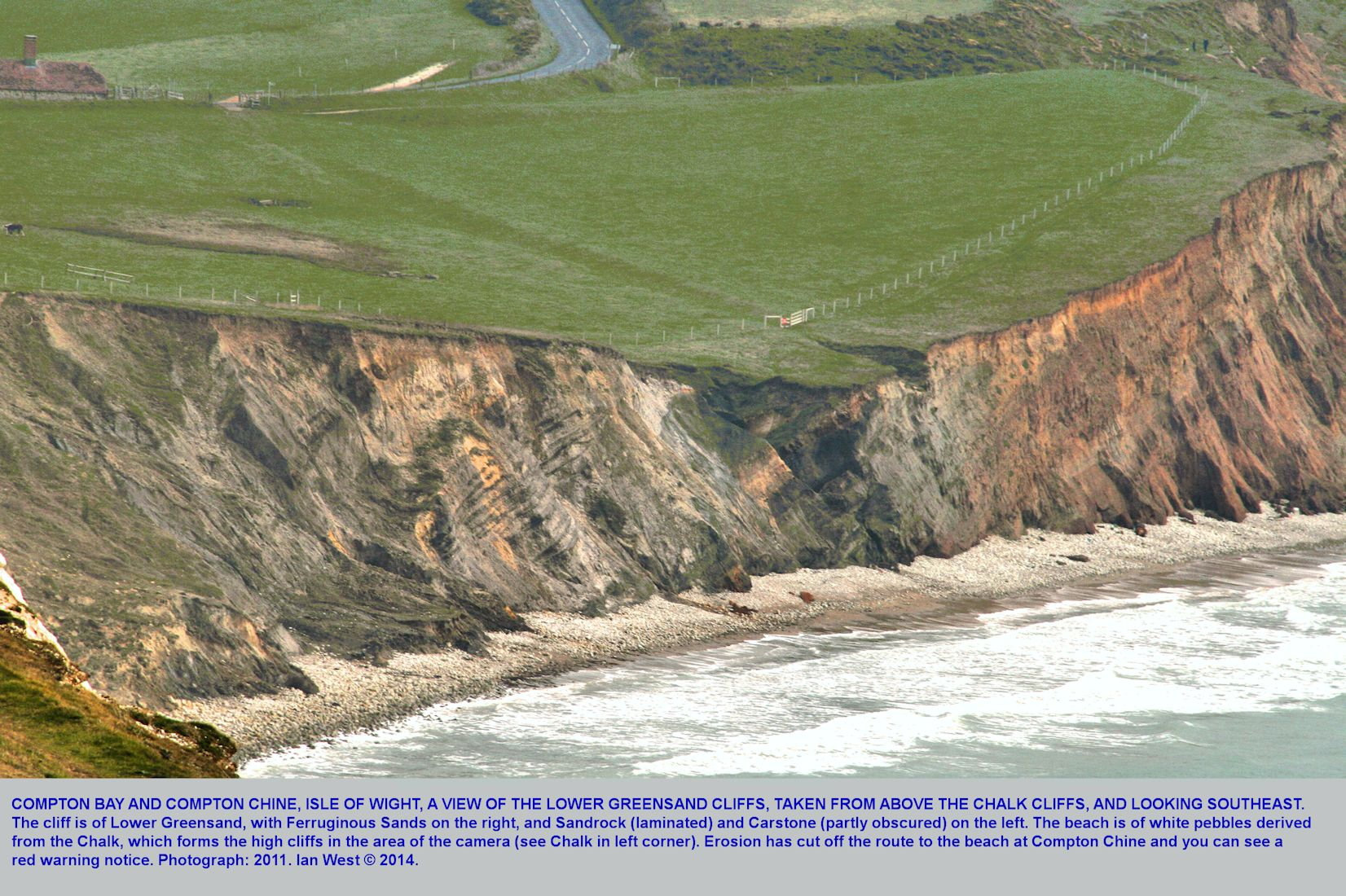 A distant view of the Lower Greensand cliffs at Compton Chine, Compton Bay, Isle of Wight, as seen from above the Chalk cliffs and looking southeast