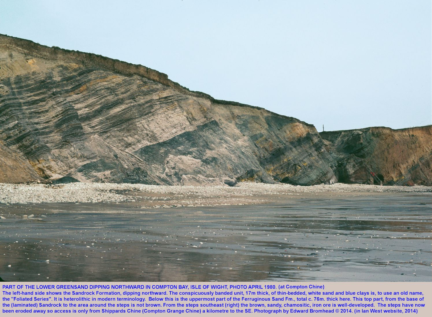 The Lower Greensand, Sandrock Formation and part of the Ferruginous Sands Formation, at Compton Bay, Isle of Wight, photograph April 1980 by Edward Bromhead