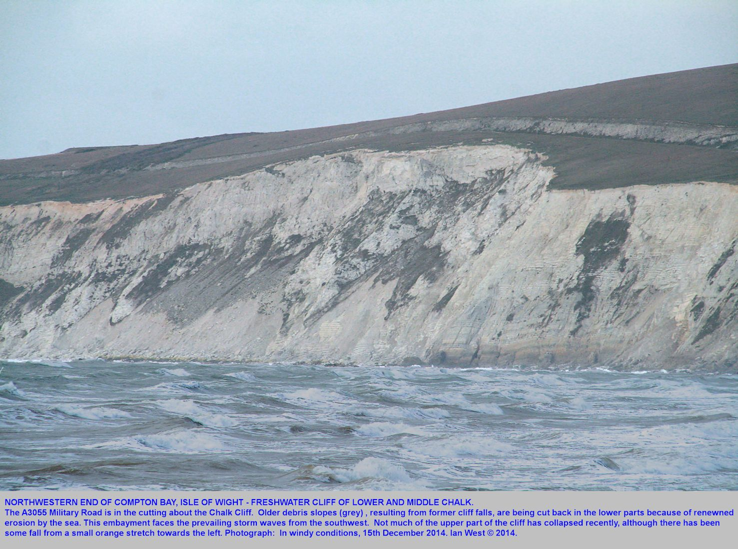 Freshwater Cliff of Lower and Middle Chalk, northwest of Compton Bay, Isle of Wight, 15th December 2014
