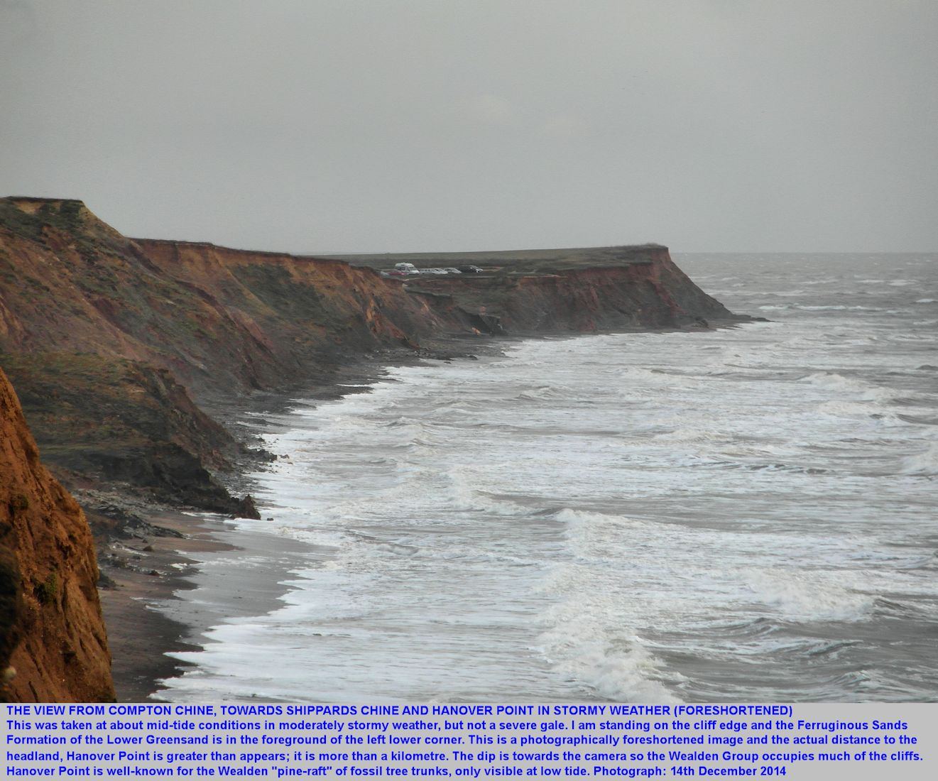A foreshortened view of Shippards Chine and Hanover Point southeast from the cliff top at Compton Chine, Isle of Wight, 14th December 2014