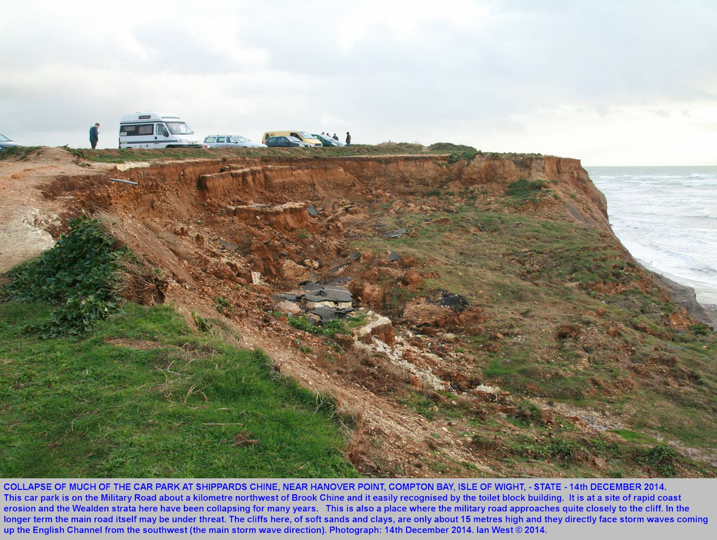 The collapsed state of part of the car park at Shippards Chine, Compton Bay, Isle of Wight, as a result of continued coast erosion here - 14th December 2014