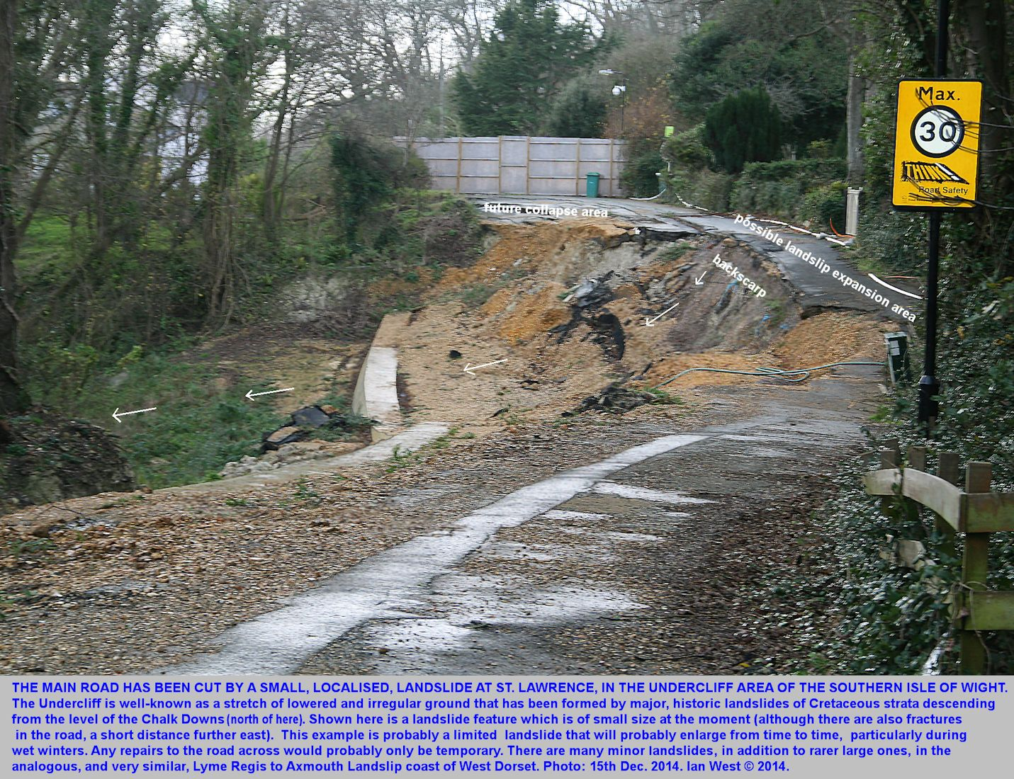 A small area of collapse of the A3055 coast road at St. Lawrence, within the Undercliff, on the southern part of the Isle of Wight, as seen on the 14th December 2014