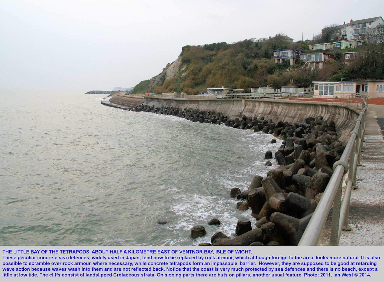 A small bay with tetrapod rock armour, about half a kilometre east of Ventnor, Isle of Wight