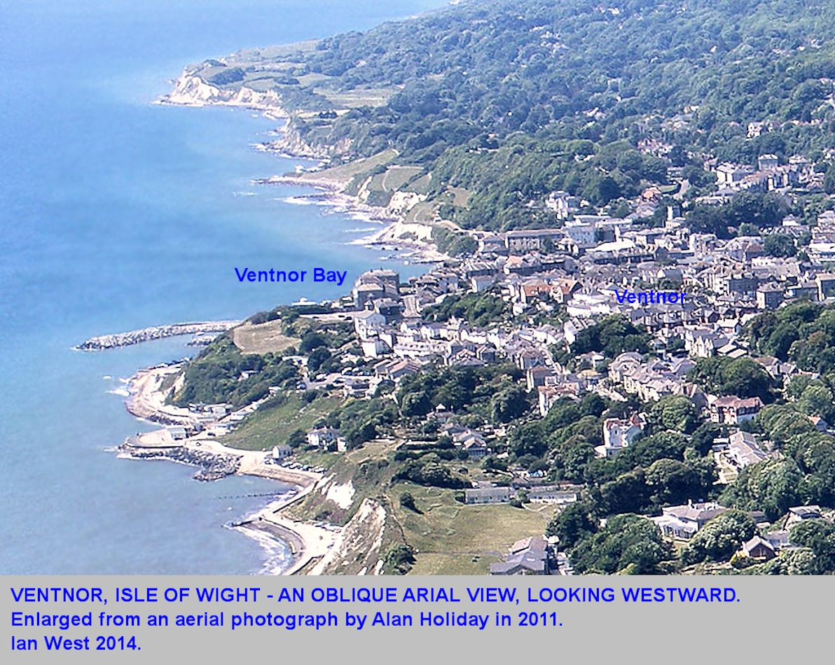 An enlarged area around Ventnor, Isle of Wight, from an aerial photograph by Alan Holiday, June 2011