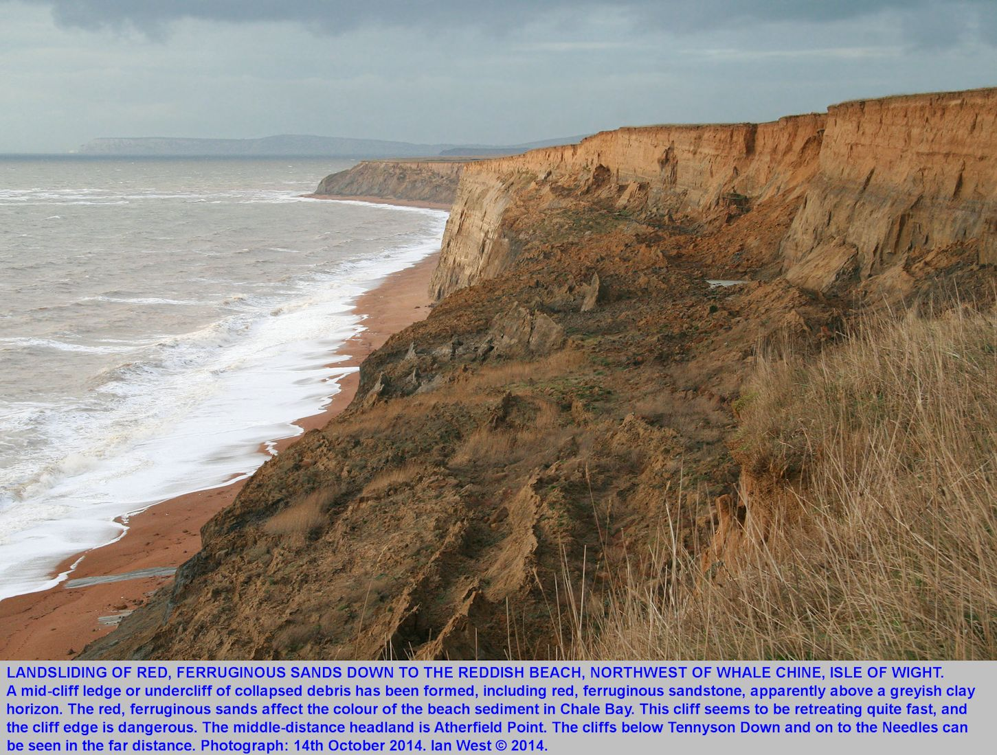 Red debris from the Ferruginous Sands Formation in a coastal landslip, northwest of Whale Chine, Isle of Wight, 14th December 2014