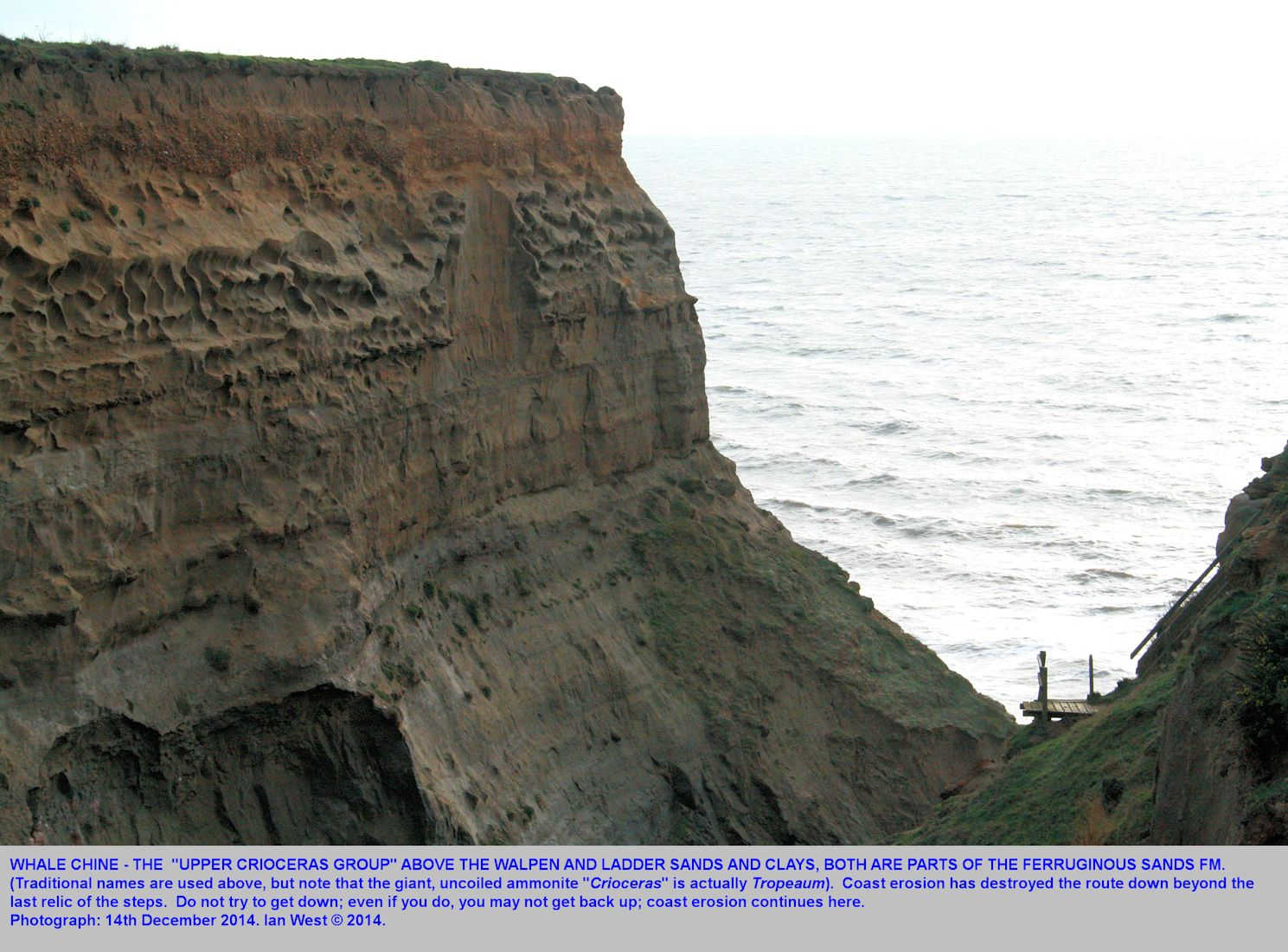 The eroded mouth of Whale Chine, southwest Isle of Wight, with no access to the beach, 14th December 2014