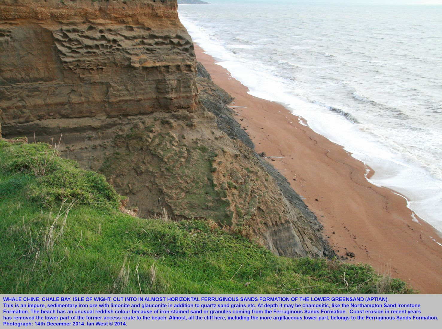 The mouth of Whale Chine, Chale Bay, Isle of Wight,now eroded by the sea so that there is no direct access to the beach here, 14th December 2014
