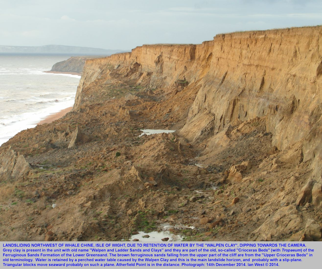 Water held up by the Walpen Clay, Lower Greensand, causes landslides with pools of water, and perhaps a slip-plane in the cliff northwest of Whale Chine, Isle of Wight, as seen on 14th December 2014
