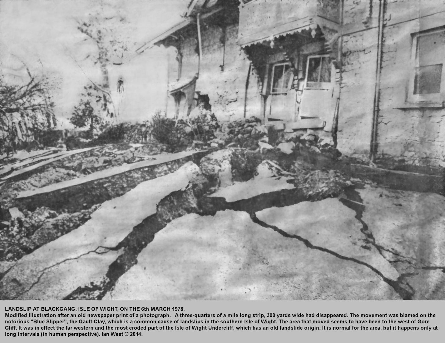 Effects on a house of a landslip at Blackgang Chine, Isle of Wight, 6th March 1978, from newspaper report