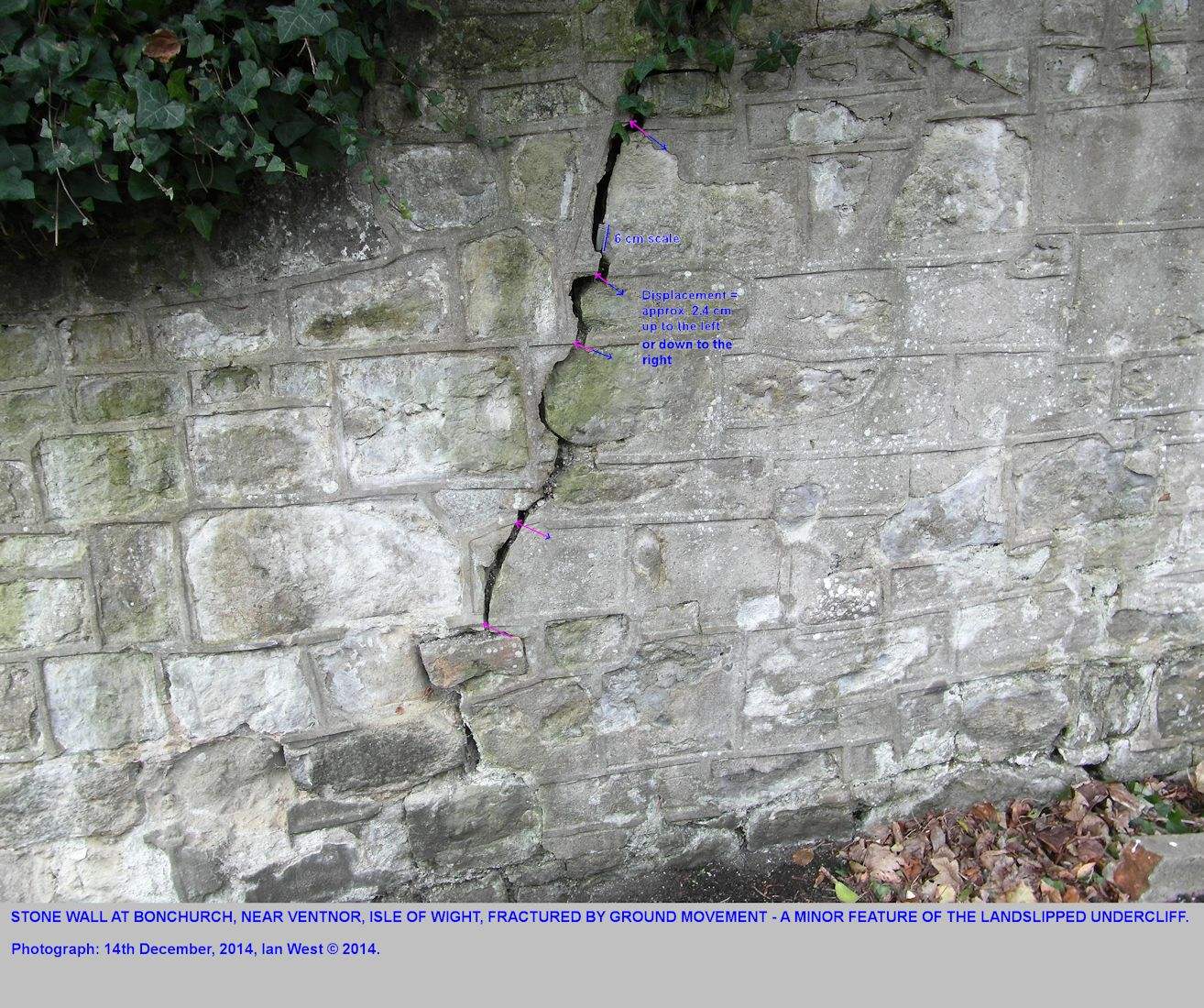 Small displacement in a fissure in a stone wall at Bonchurch village, Isle of Wight, possibly due to very small landslide movement, seen as at 14th December 2014