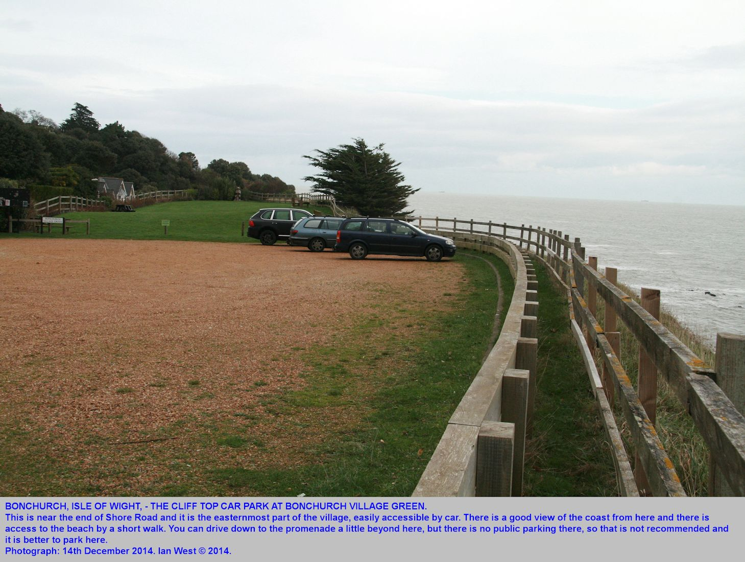 Bonchurch, Isle of Wight, the Village Green  carpark on the cliff top, approached from Shore Road, Ian West, 14th December 2014