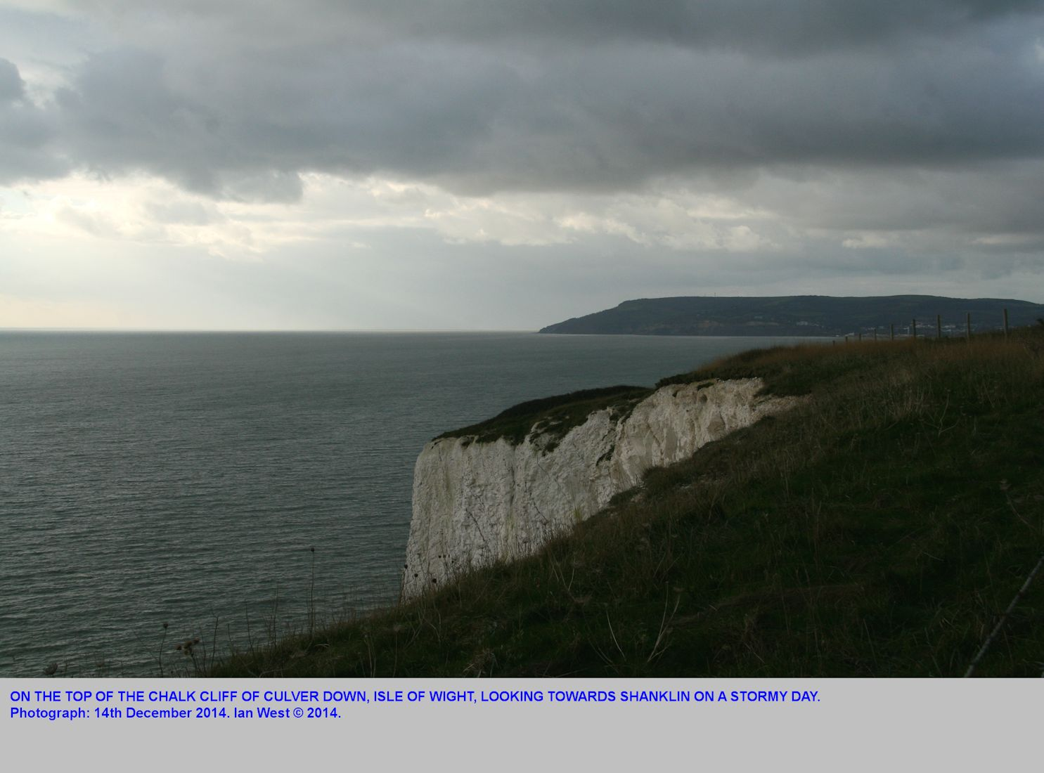 On Culver Down, Isle of Wight, near the edge of the vertical cliff of Chalk, on a stormy day, 14th December 2014