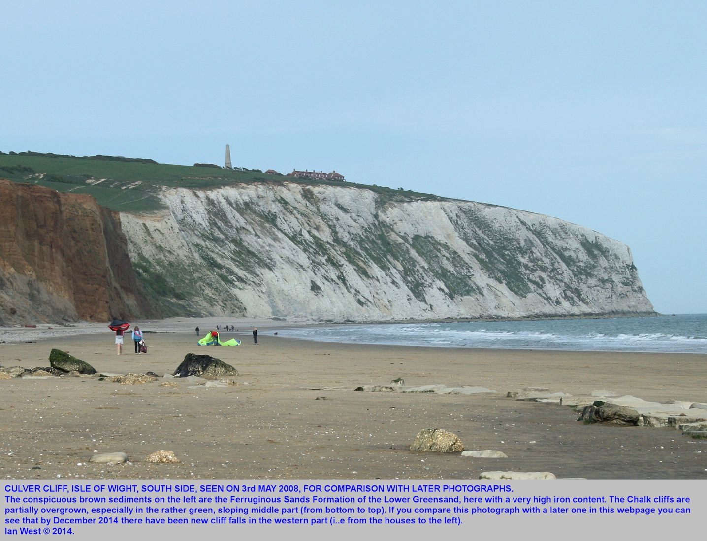 Culver Cliff of Chalk as seen, rather obliquely in 2008, for comparison with later photographs, Isle of Wight, Ian West