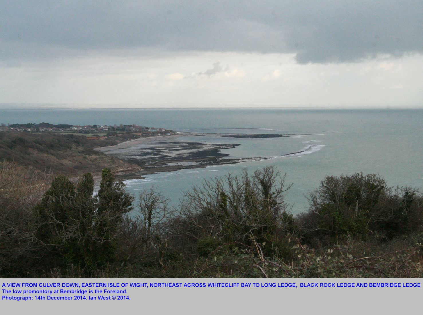 A view from Culver Down, northeastward across Whitecliff Bay to Long Ledge, Black Rock Ledge and Bembridge Ledge at the Foreland, Bembridge, Isle of Wight, 14th December 2014