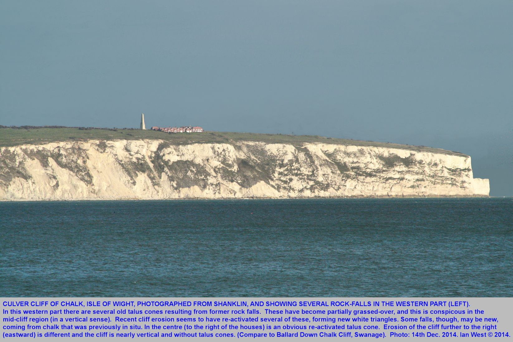 A view from Shanklin, Isle of Wight, of the Culver Cliff, of Chalk, showing the effects of cliff-falls and eroding cones of chalk talus