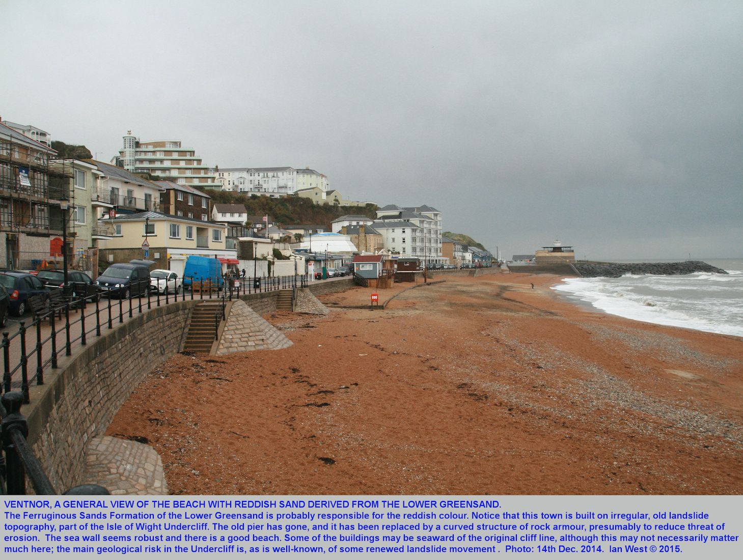 A general view of Ventnor Beach, Isle of Wight, reddish in colour because of supply of sand from the Ferruginous Sands Formation, Ian West, 14th December 2014