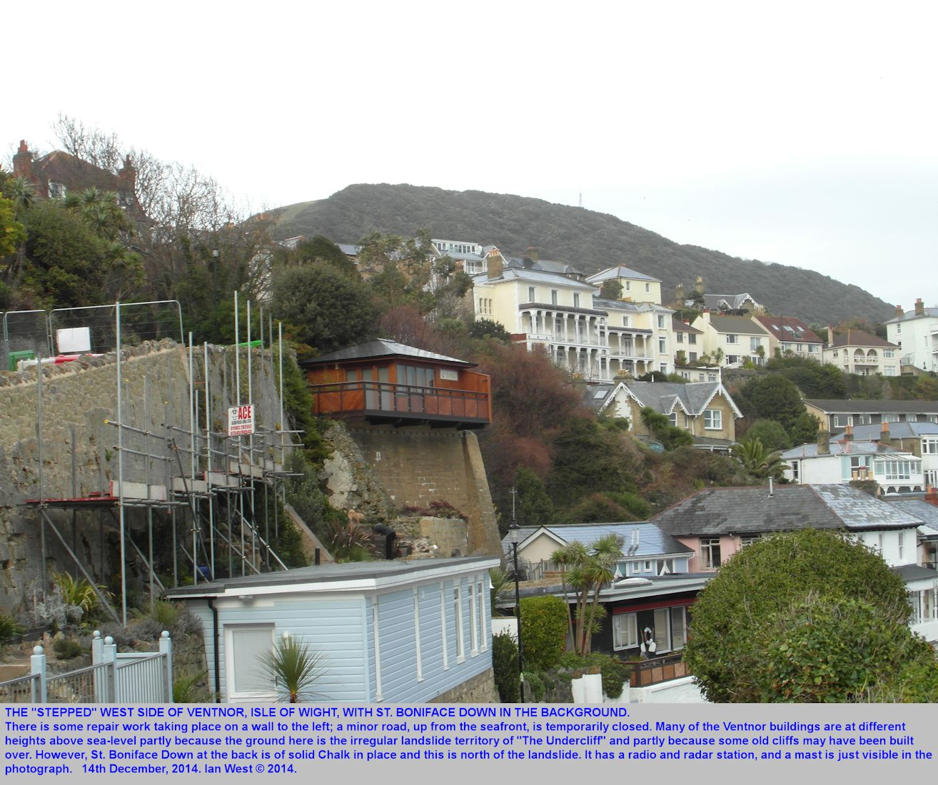 Ventnor, Isle of Wight, buildings on the west side above the beach, and wall repairs, and with view of St. Boniface Down, 14th December 2014