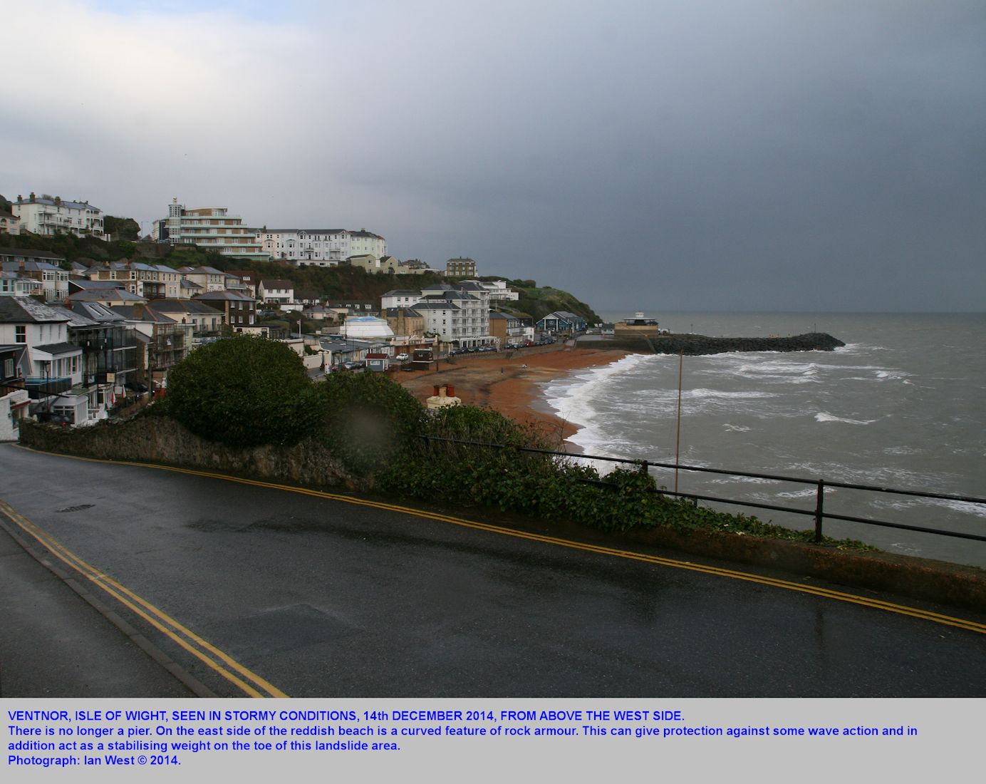 Ventnor, Isle of Wight, seen in stormy conditions from above the west side, 14th December 2014