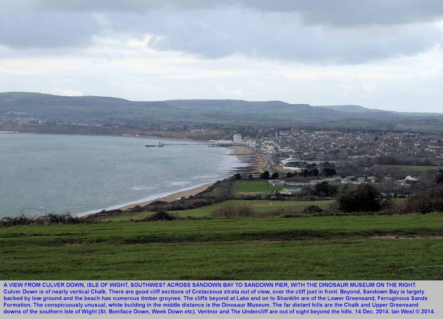 Sandown Bay, view of the coast from Culver Down, Isle of Wight, December 2014, Ian West