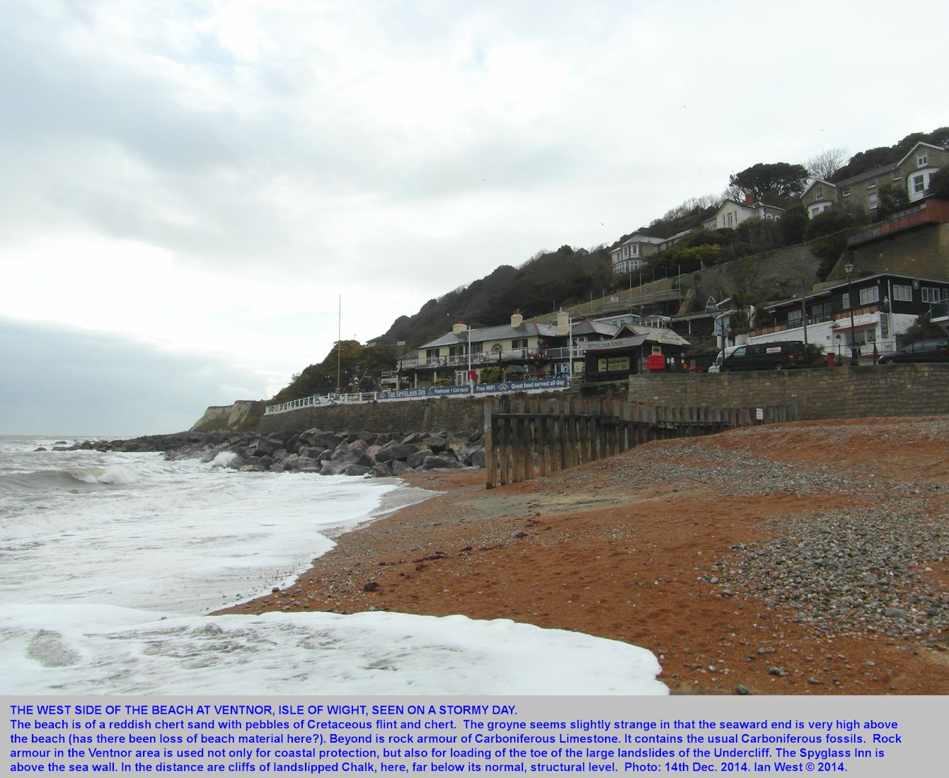 The west side of Ventnor Beach, Isle of Wight, on a stormy day, 14th December 2014, by Ian West
