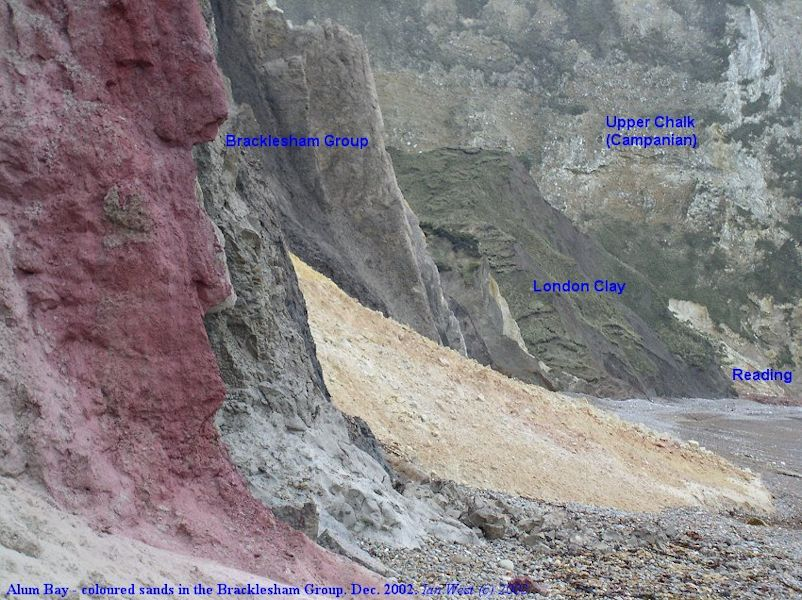 Coloured sands and silts, including red beds, in the Bracklesham Group, Alum Bay, 2002, corrected 2016