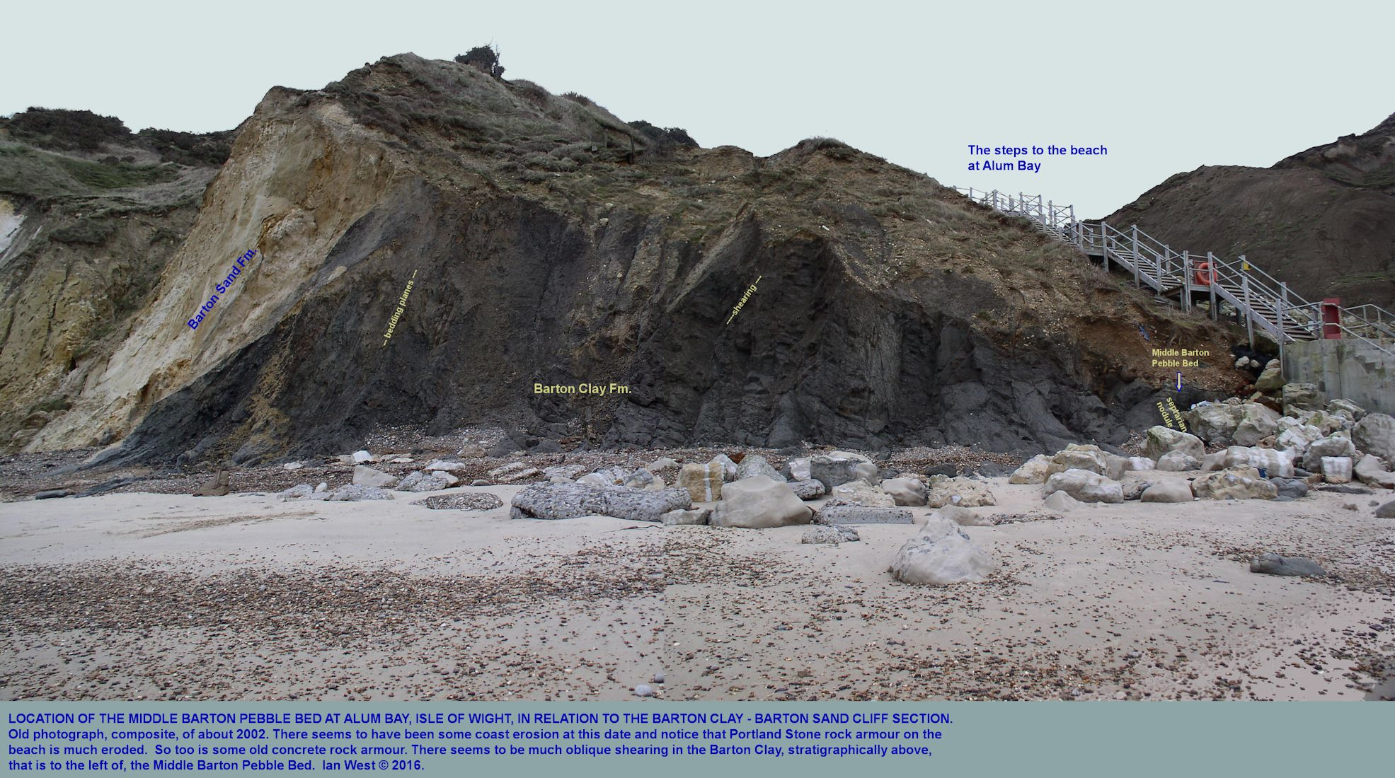 A  broad view of the vertical, Barton Clay Formation from the Steps at Alum Bay, Isle of Wight, northward and stratigraphically upward to the Barton Sand Formation, and showing the relative location of the Mid-Barton Clay Pebble Bed, photo 2002