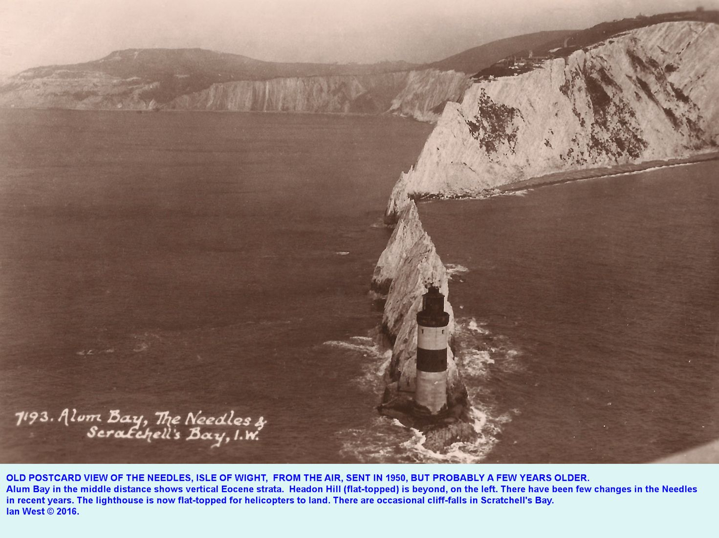 A pre-1950 postcard, aerial photograph of the Needles, Isle of Wight