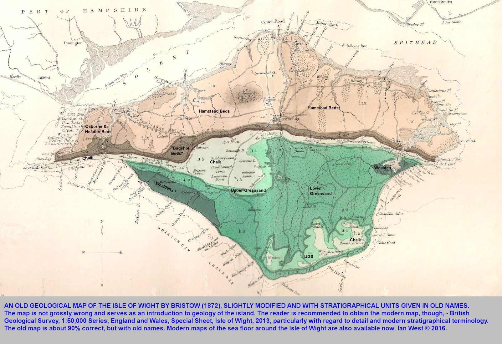 An old geological map of the Isle of Wight, showing the structure and general geology, and still relevant for introductory purposes