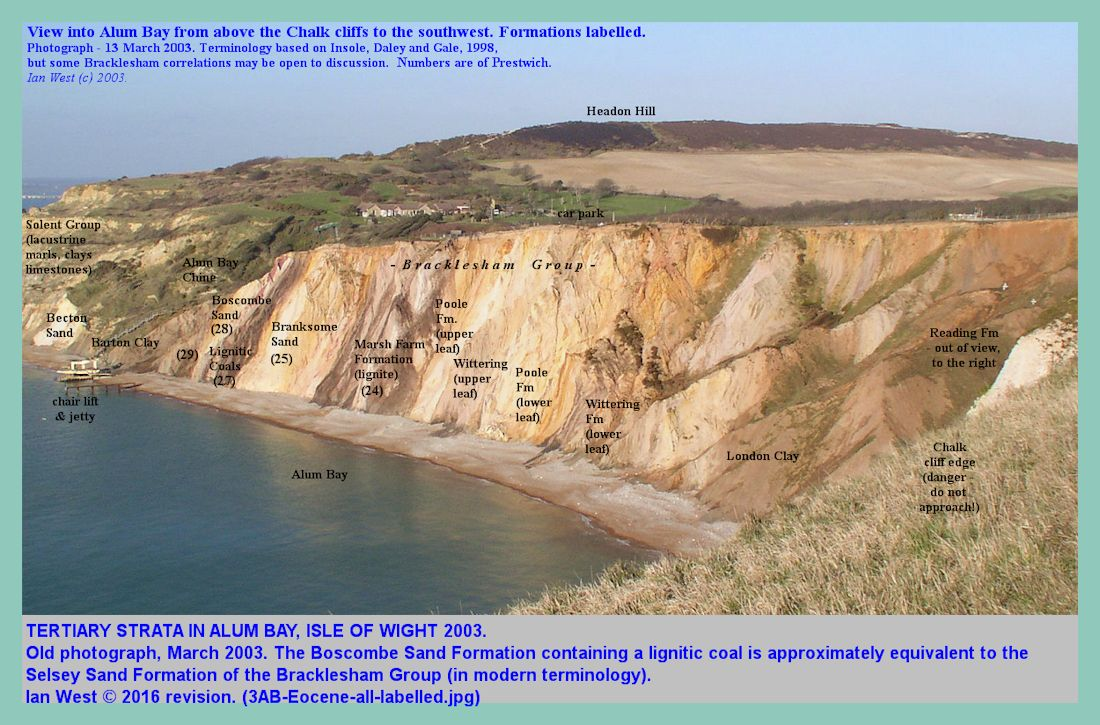 Tertiary strata in the cliffs of Alum Bay, 2003, labelled