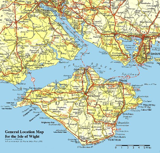 Location map for the Isle of Wight, old version, 1950s