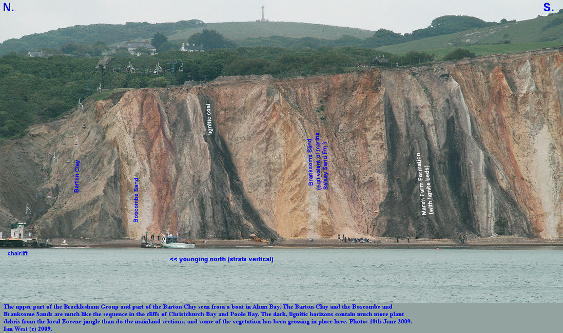 The uppermost part of the Bracklesham Group and part of the Barton Clay seen from a boat, Alum Bay, Isle of Wight, 10th June 2009