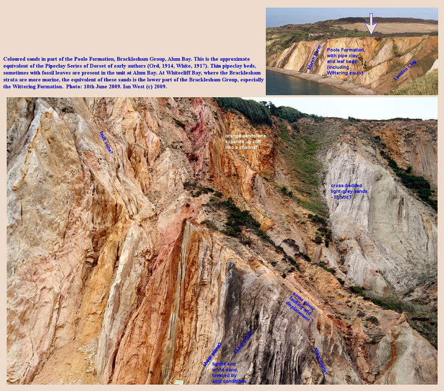 Coloured sand in the Poole Formation, lower part of the Bracklesham Group, Alum Bay, Isle of Wight