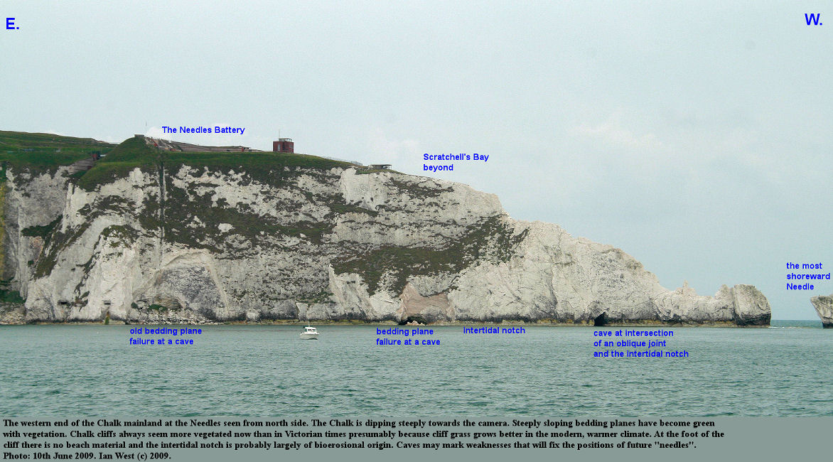 The western extremity of the mainland Chalk cliffs of the Isle of Wight, just before the Needles sea stacks, 10th June 2009